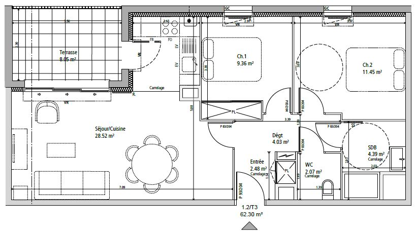 Exemple Plan appartement T2 neuf argian